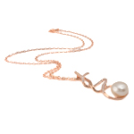 Freshwater Pearl Brass Necklace, with Rhinestone & Brass, Flat Round, natural, pink, 22x47mm, 13mm, Sold Per 17 Inch Strand