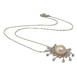 Freshwater Pearl Brass Necklace, with Brass, iron lobster clasp, Round, natural, pink, 31x31mm, 11-12mm, Sold Per 17 Inch Strand
