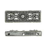 Zinc Alloy Spacer Bar, 3-strand, antique silver plated, nickel, lead & cadmium free, 8x26x5mm, Hole:Approx 0.5mm, approx 520PCs/KG, Sold by KG