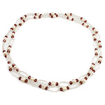 Crystal Freshwater Pearl Necklace, with Crystal & Glass Seed Beads, natural, 7-8mm, Sold Per 45.5 Inch Strand