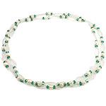 Kryształowy naszyjnik z perłami słodkowodnymi, Perła naturalna słodkowodna, ze Kryształ & Koraliki szklane, Naturalne, 7-8mm, sprzedawane na 45.5 cal Strand