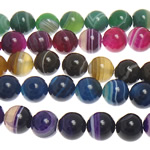 Natural Lace Agate Beads, Round, mixed colors, 6mm, Hole:Approx 1mm, Length:Approx 15 Inch, 5Strands/Lot, Sold By Lot
