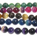 الطبيعية الخرز العقيق الرباط, الدانتيل العقيق, جولة, الألوان المختلطة, 6mm, حفرة:تقريبا 1mm, طول:تقريبا 15 بوصة, 5جدائل/الكثير, تباع بواسطة الكثير