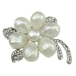 Freshwater Pearl Brooch, with Zinc Alloy, Flower, white, 54x38x10mm, Sold By PC