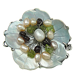 Shell Box Clasp, with Gemstone & Cultured Freshwater Nucleated Pearl & Brass, Flower, 3-strand, 48x50x14mm, Hole:Approx 3mm, Sold By PC