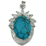 Turquoise Pendant, Natural Turquoise, Oval, 25x39x12mm, Hole:Approx 4x5.5mm, Sold By PC