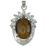 Natural Tiger Eye Pendants, with Zinc Alloy, Oval, 25x39x12mm, Hole:Approx 4x5.5mm, Sold By PC