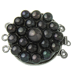Brass Box Clasp, with Cultured Freshwater Nucleated Pearl, Flat Round, platinum color plated, 3-strand, nickel, lead & cadmium free, 27x34x10mm, Hole:Approx 2mm, Sold By PC