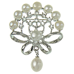 Freshwater Pearl Brooch, with Zinc Alloy, Flower, white, 38.50x42.50x11mm, Sold By PC