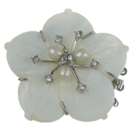 Shell Box Clasp, with Cultured Freshwater Nucleated Pearl & Brass, Flower, 3-strand, white, 51x50x12mm, Hole:Approx 2mm, Sold By PC