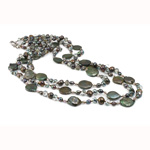 Crystal Freshwater Pearl Necklace, with Crystal, Nuggets, natural, Grade AA, 5-6mm, Sold Per 18 Inch Strand