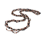 Crystal Freshwater Pearl Necklace, with Crystal & Glass Seed Beads, natural, 3-4mm, Sold Per 31 Inch Strand