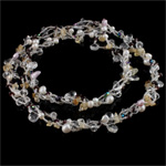 Crystal Freshwater Pearl Necklace, with Crystal & Glass Seed Beads, natural, 6-7mm, Sold Per 31 Inch Strand