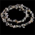 Kryształowy naszyjnik z perłami słodkowodnymi, Perła naturalna słodkowodna, ze Kryształ & Koraliki szklane, Naturalne, 6-7mm, sprzedawane na 31 cal Strand