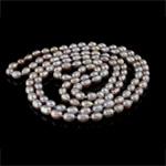 Naszyjnik z naturalnych pereł słodkowodnych, Perła naturalna słodkowodna, Owal, Naturalne, fioletowy, klasy AA, 7-8mm, sprzedawane na 47 cal Strand