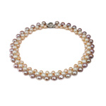 Natural Freshwater Pearl Necklace brass box clasp Round mixed colors 7-9mm Sold Per 17 Inch Strand