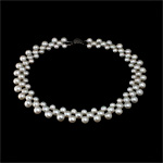 Natural Freshwater Pearl Necklace brass box clasp Round white 7-9mm Sold Per 17 Inch Strand