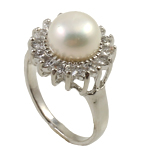 Natural Cultured Freshwater Pearl Finger Ring, white color, with rhinestone on brass ring setting, 7.5#, 9-10mm, Hole:Approx 18mm, Sold by Bag