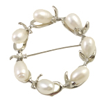 Freshwater Pearl Brooch, with Zinc Alloy, Donut, white, 7-8mm, Sold By PC