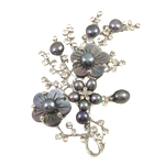 Freshwater Pearl Brooch, with Shell & Zinc Alloy, Tree, black, 57x67x11mm, Sold By PC