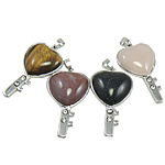 Mixed Gemstone Pendants, with Zinc Alloy, Heart, natural, with rhinestone, mixed colors, 29x52x6mm, Hole:Approx 5x7.5mm, 30PCs/Bag, Sold By Bag