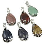 Mixed Gemstone Pendants, with Zinc Alloy, natural, 23x46x11mm, Hole:Approx 6mm, 30PCs/Bag, Sold By Bag