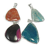 Mixed Natural Gemstone Pendant, with zinc alloy pendant setting, 42-72mm, Hole:Approx 4x8mm, 30PC/Bag, Sold by Bag