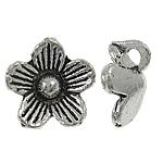 Wisior ze stopu cyku w kształcie kwiatu, Stop cynku, Platerowane kolorem starego srebra, bez zawartości niklu, ołowiu i kadmu, 9.50x9x4mm, otwór:około 1mm, około 2000komputery/KG, sprzedane przez KG