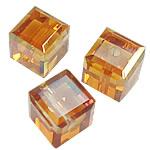 Koraliki z kryształów CRYSTALLIZED™ego, CRYSTALLIZED™, Kostka, fasetowany, kryształowa miedź, 4x4x4mm, otwór:około 0.6mm, 288komputery/Box, sprzedane przez Box