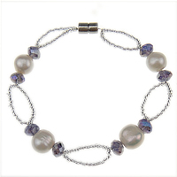 Freshwater Cultured Pearl Bracelet, Crystal, with Freshwater Pearl & Glass Seed Beads, brass magnetic clasp, 7-8mm, Sold Per 7.5 Inch Strand