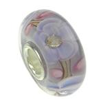 Szklane koraliki European, Lampwork, Okrąg, cupronickel pojedynczy rdzeń bez połusku, jasny fiolet, 16x8mm, otwór:około 4mm, sprzedane przez PC