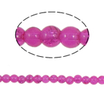 Crackle Glass Beads, Round, fuchsia pink, 6mm, Hole:Approx 1.5mm, Length:Approx 31 Inch, 10Strands/Bag, Sold By Bag