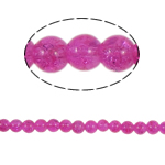 Crackle Glass Beads, Round, fuchsia pink, 8mm, Hole:Approx 2mm, Length:Approx 31 Inch, 10Strands/Bag, Sold By Bag
