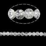 Crackle Glass Beads, Round, clear, 8mm, Hole:Approx 2mm, Length:Approx 31 Inch, 10Strands/Bag, Approx 105PCs/Strand, Sold By Bag
