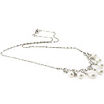 Freshwater Pearl Brass Necklace, with Rhinestone & Brass, Teardrop, natural, white, 6-7mm, Sold Per 16.5 Inch Strand
