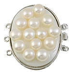 Brass Box Clasp, with Cultured Freshwater Nucleated Pearl, Oval, platinum color plated, 3-strand, nickel, lead & cadmium free, 39x42x12mm, Hole:Approx 1.5mm, Sold By PC