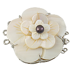 Shell Box Clasp, with Cultured Freshwater Nucleated Pearl & Brass, Flower, 3-strand, 49x43x16mm, Hole:Approx 2.5mm, Sold By PC
