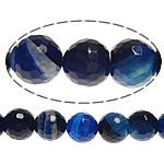 Agate Beads, Round, faceted, blue, 14mm, Hole:Approx 2mm, Length:Approx 15 Inch, 5Strands/Lot, Sold By Lot