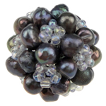 Ball Cluster Cultured Pearl Beads, Freshwater Pearl, with Glass Seed Beads, Round, black, 18mm, Sold By PC