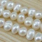 Ziemniakowe koraliki z hodowlanych pereł słodowodnych, Perła naturalna słodkowodna, Naturalne, biały, klasy AA, 3-4mm, otwór:około 0.8mm, sprzedawane na 15 cal Strand