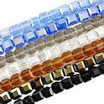Imitation CRYSTALLIZED™ Element Crystal Beads, Cube, faceted & imitation CRYSTALLIZED™ element crystal, mixed colors, 4mm, Hole:Approx 1mm, Length:15 Inch, 10Strands/Bag, Sold By Bag