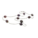 Freshwater Pearl Brass Necklace, with Brass, Oval, natural, black, 7-8mm, Sold Per 17 Inch Strand