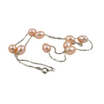 Freshwater Pearl Brass Necklace, with Brass, Oval, natural, pink, 7-8mm, Sold Per 17 Inch Strand