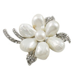 Freshwater Pearl Brooch, Zinc Alloy, with Freshwater Pearl, Flower, with rhinestone, nickel, lead & cadmium free, 44x55mm, Sold By PC