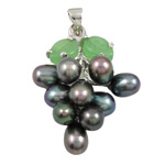 Freshwater Pearl Pendants with Brass   Zinc Alloy Grape natural black 13x35mm 6-7mm Hole:Approx 3x5mm