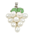 Freshwater Pearl Pendants, with Brass & Zinc Alloy, Grape, natural, white, 13x35mm, 6-7mm, Hole:Approx 3x5mm, Sold By PC