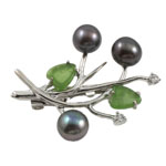 Freshwater Pearl Brooch, with Agate, Flower, purple, 34x40mm, 8-9mm, Sold By PC