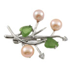Freshwater Pearl Brooch, with Agate, Flower, pink, 34x40mm, 8-9mm, Sold By PC
