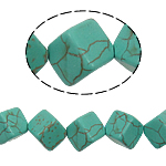 Turquoise Beads, Cube, green, 10mm, Hole:Approx 1mm, Approx 29PCs/Strand, Sold Per Approx 15 Inch Strand