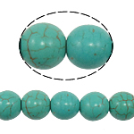Turquoise Beads, 10mm, Hole:Approx 1mm, 40PCs/Strand, Sold per 15.5 Inch Strand